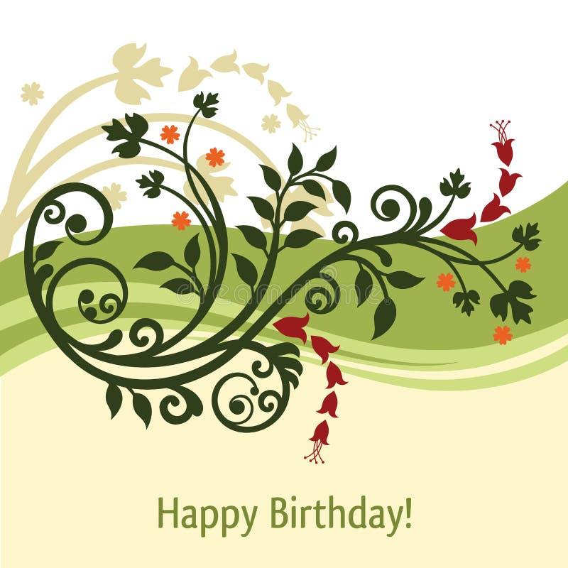 Cartão de aniversário verde e amarelo ilustração do vetor