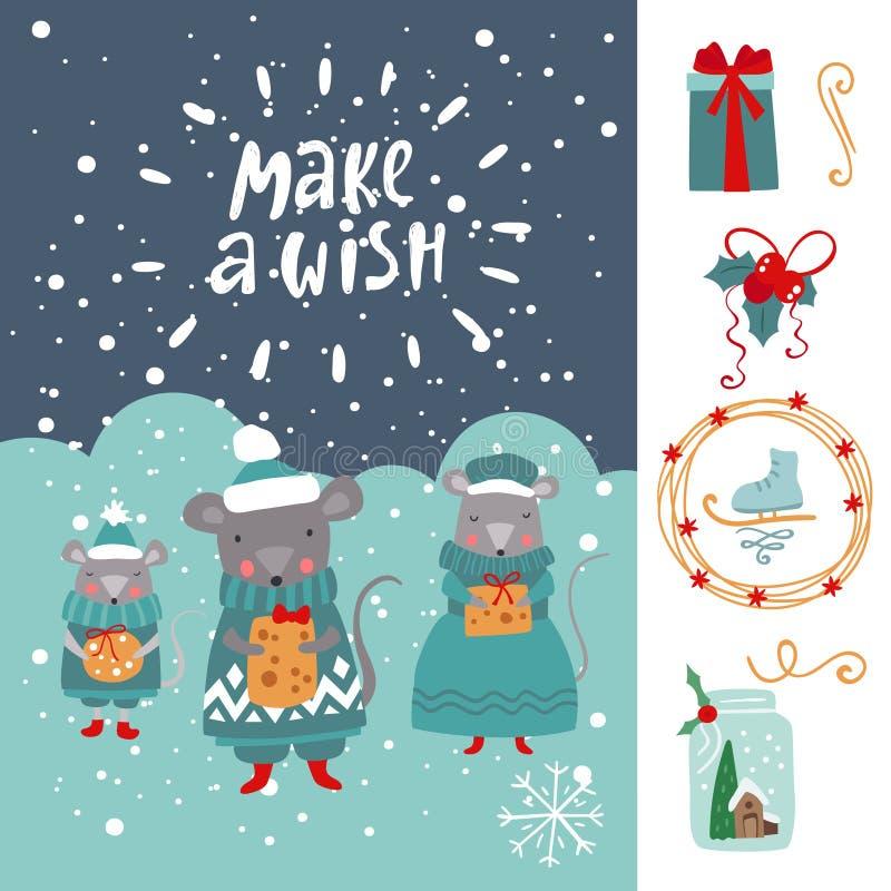 Cartão de Ano Novo com Família Mouses Vetor ilustração stock