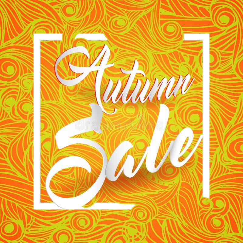 Cartão de Autumn Sale Lettering Seasonal Banner ilustração stock