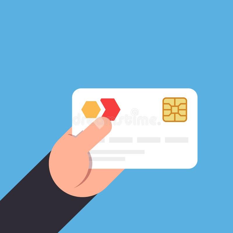 Cartão de banco com uma microplaqueta à disposição Vector a ilustração de um estilo liso em um fundo azul ilustração stock
