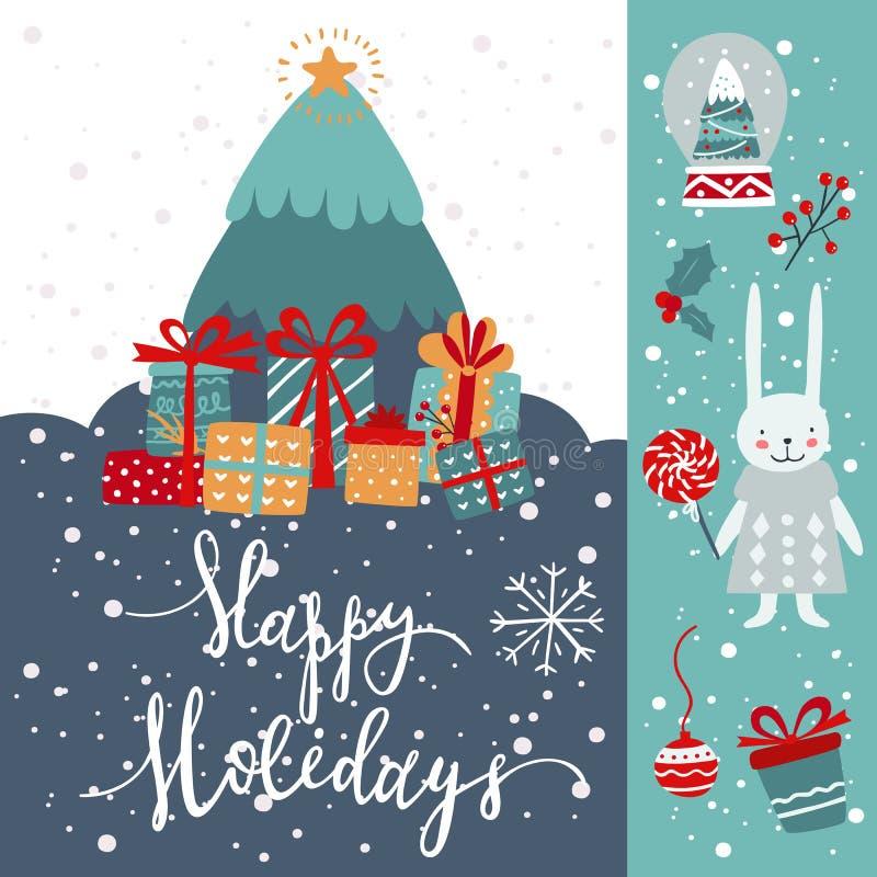 Cartão de boas-vindas Feriados de inverno com caixas de presentes e inscrição Vetor ilustração stock
