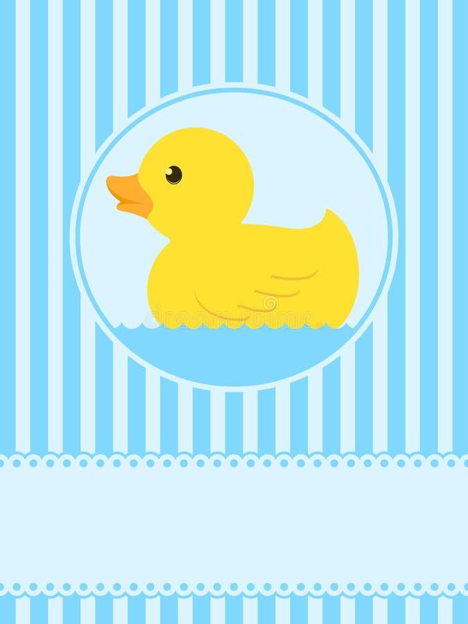 Cartão de borracha bonito do pato ilustração stock
