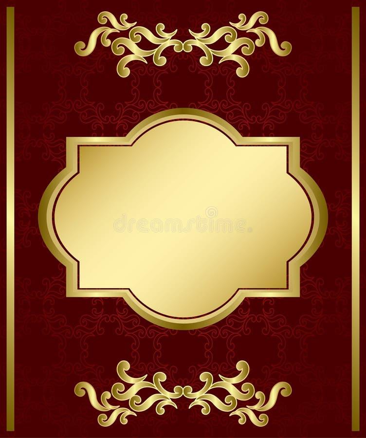 Cartão de Brown com decorações do ouro ilustração stock