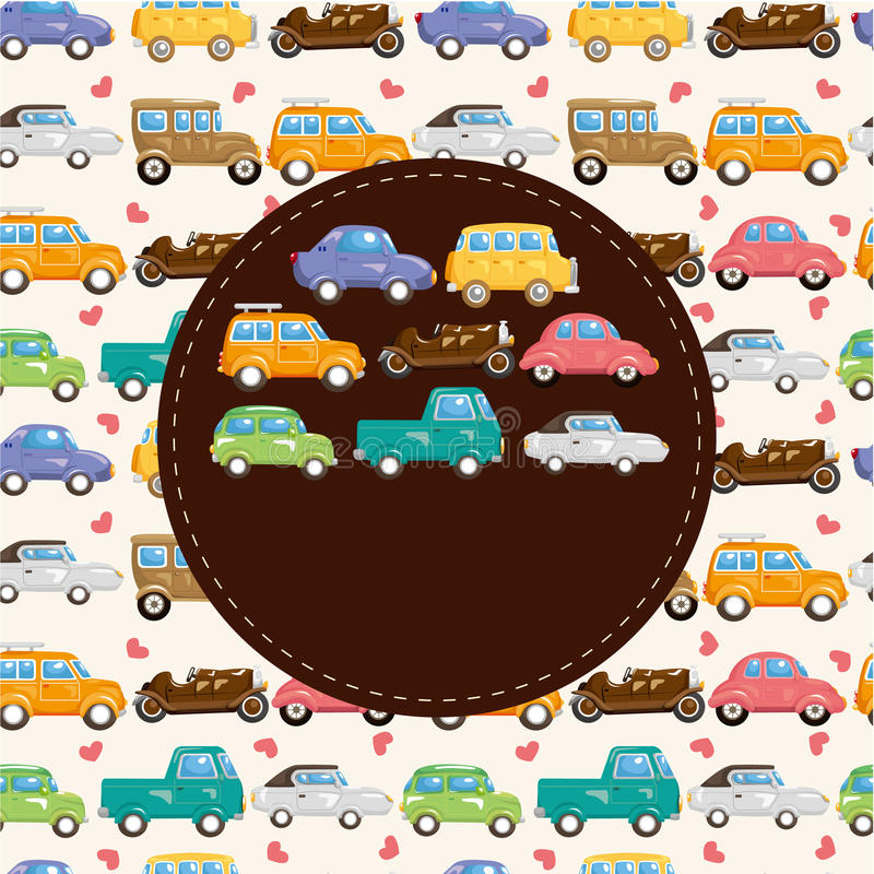 Cartão de carro retro dos desenhos animados ilustração stock