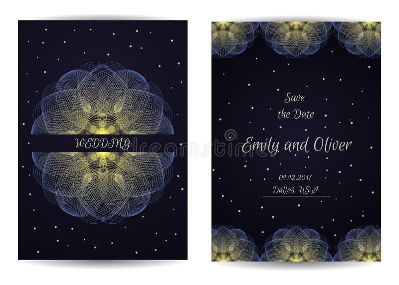 Cartão de casamento brilhante bonito e o convite à cerimônia Vetor ilustração royalty free