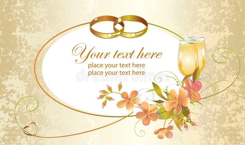 Cartão de casamento com anéis foto de stock royalty free