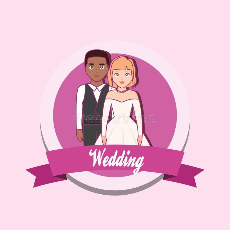 Cartão de casamento com casal ilustração royalty free