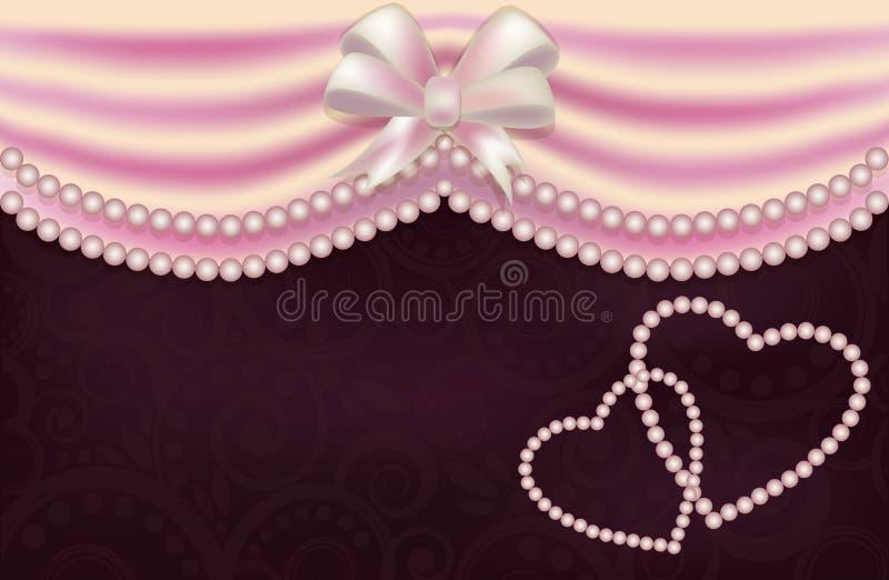 Cartão de casamento com duas pérolas coração, vetor ilustração stock