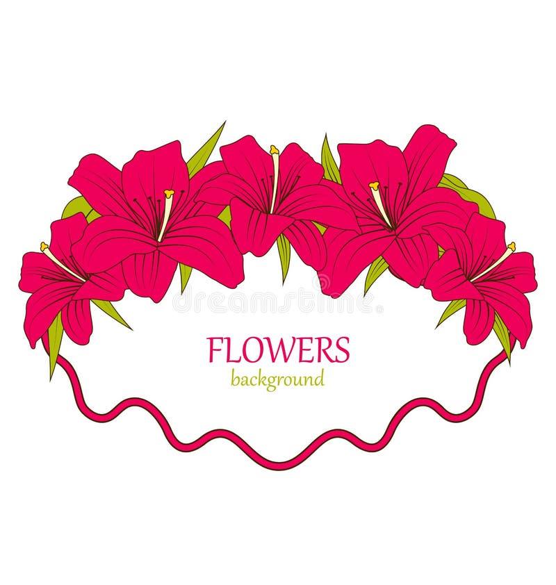 Cartão de casamento com Lily Flowers bonita colorida ilustração royalty free
