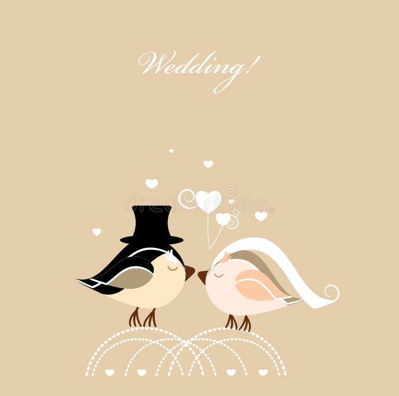Cartão de casamento com pássaros