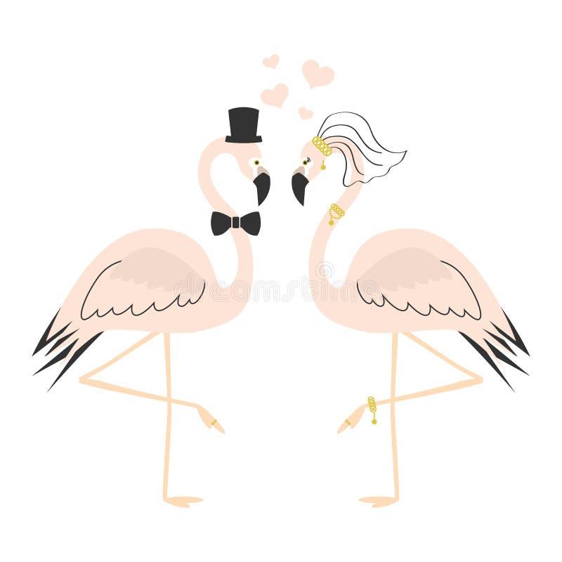 Cartão de casamento cor-de-rosa bonito dos pares do flamingo ilustração do vetor