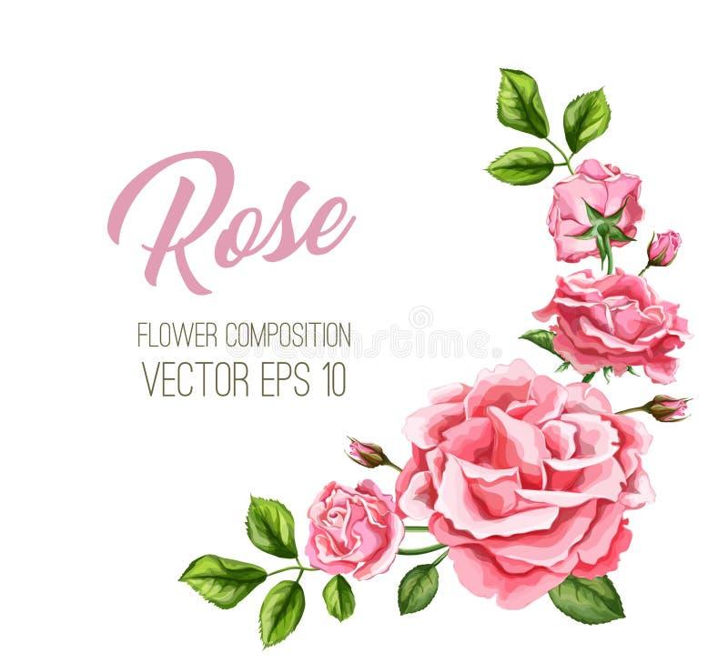 Cartão de casamento cor-de-rosa da flor da aquarela do vetor ilustração stock