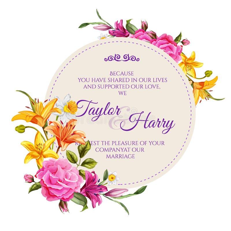 Cartão de casamento cor-de-rosa da flor do lírio da aquarela do vetor ilustração do vetor