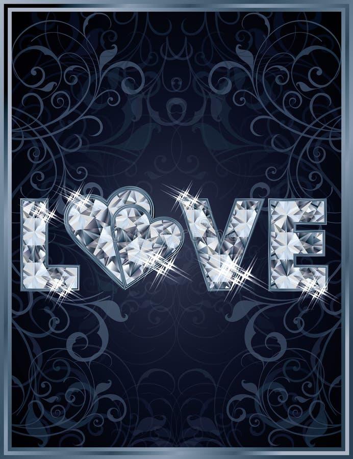 Cartão de casamento do amor do diamante ilustração stock