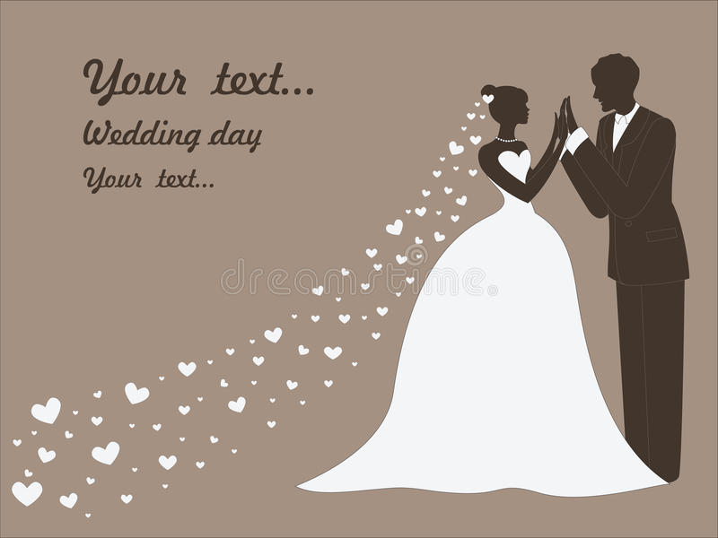 Cartão de casamento do vetor com casais ilustração do vetor