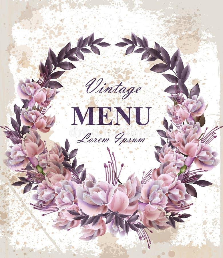 Cartão de casamento do vintage com vetor da grinalda das rosas Festão bonita das flores Decoração elegante 3d realístico do convi ilustração royalty free