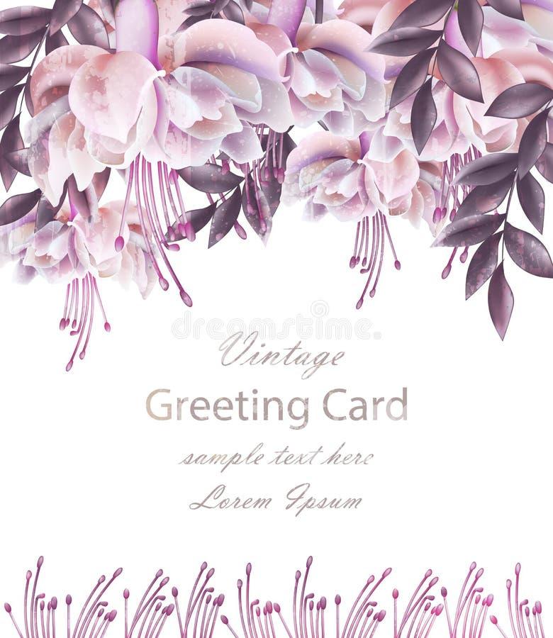 Cartão de casamento do vintage com vetor floral da decoração Molde bonito das flores Projeto 3d realístico do convite do verão da ilustração do vetor
