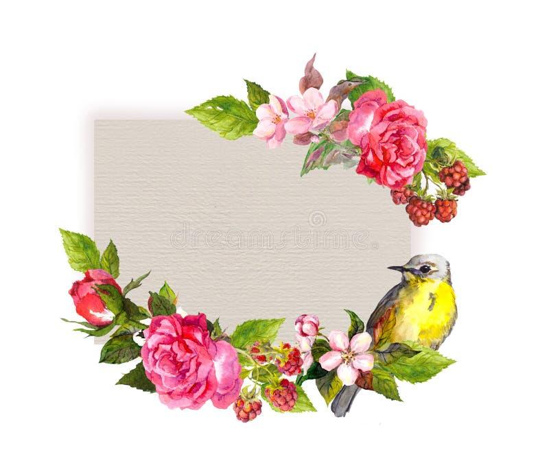 Cartão de casamento do vintage - flores e pássaro bonito na textura de papel Quadro da aquarela para o texto da data das economia imagens de stock royalty free