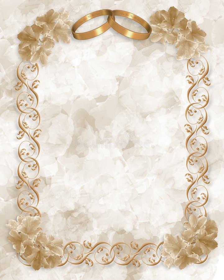 Cartão de casamento dos anéis e das flores de ouro ilustração stock