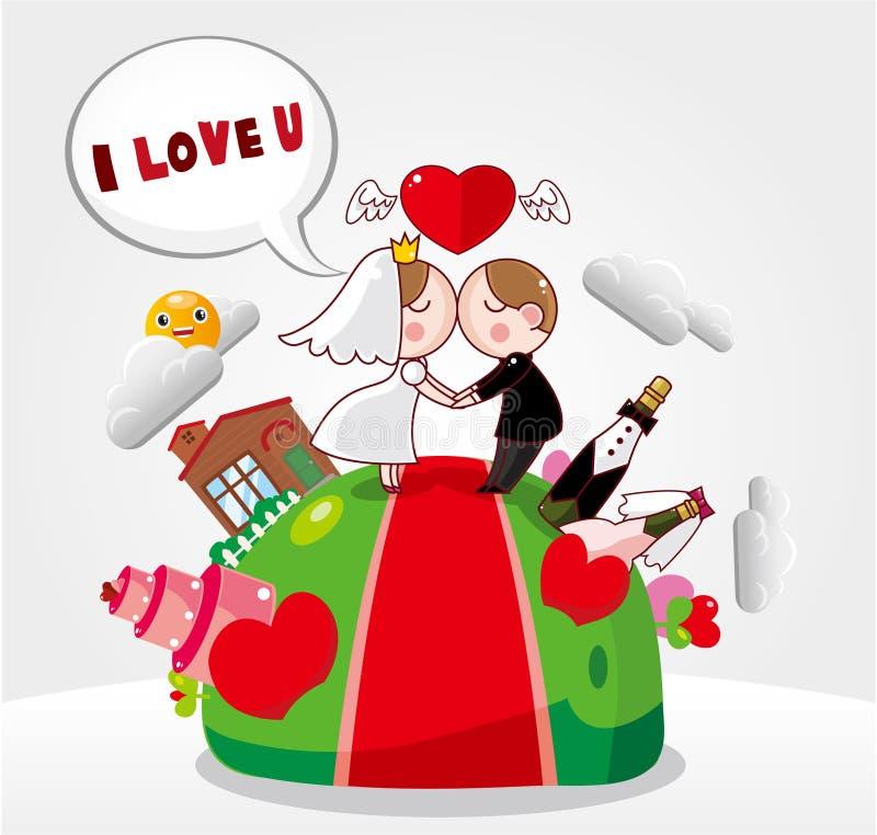 Cartão de casamento dos desenhos animados ilustração stock