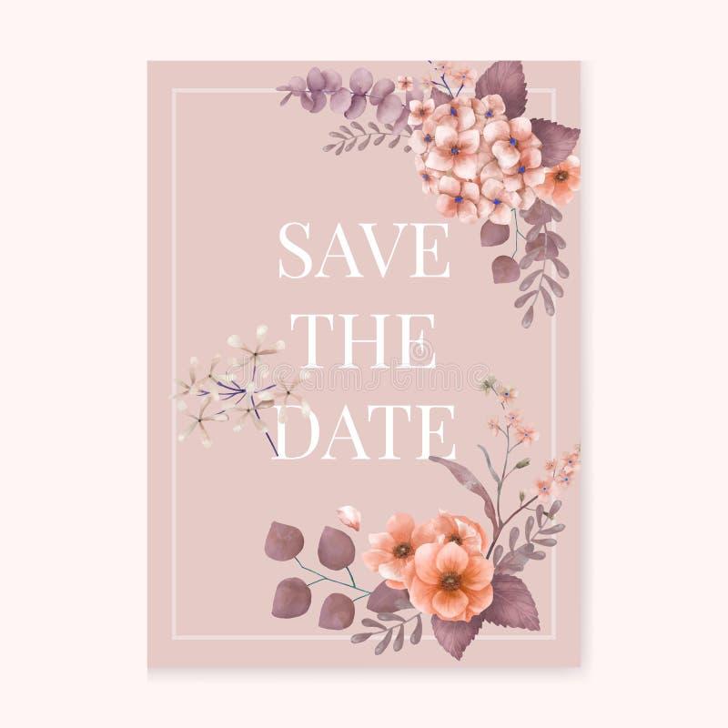 Cartão de casamento floral temático do rosa ilustração do vetor