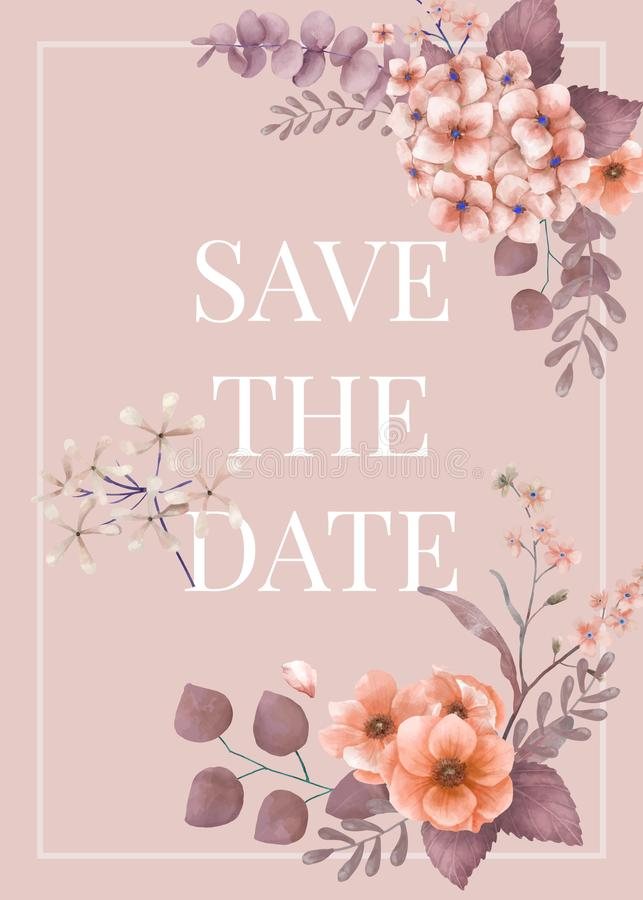 Cartão de casamento floral temático do rosa ilustração royalty free