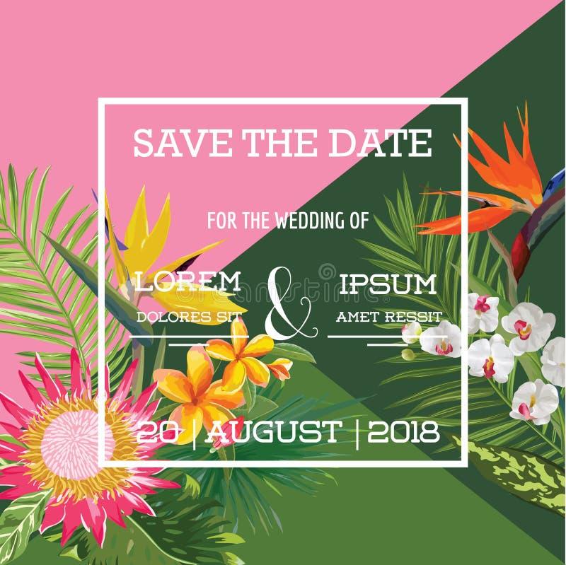 Cartão de casamento na bandeira tropical do verão das flores, floral exótico ilustração do vetor