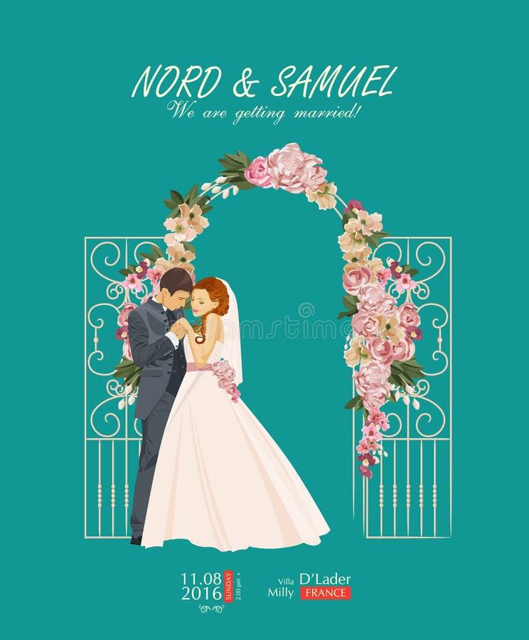 Cartão de casamento no estilo do vintage ilustração stock