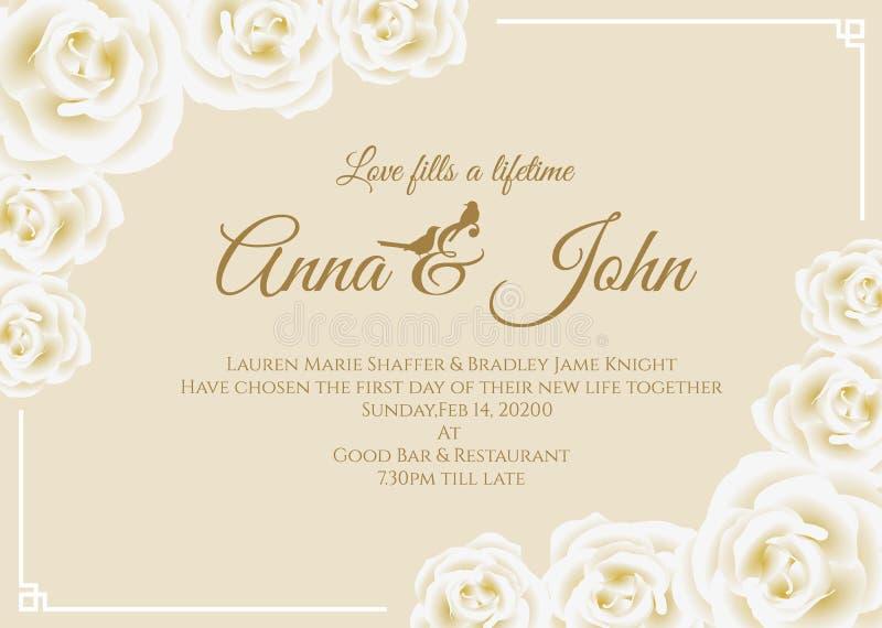 Cartão de casamento - o quadro floral da rosa do branco e o molde de creme amarelo macio do vetor do fundo projetam ilustração stock