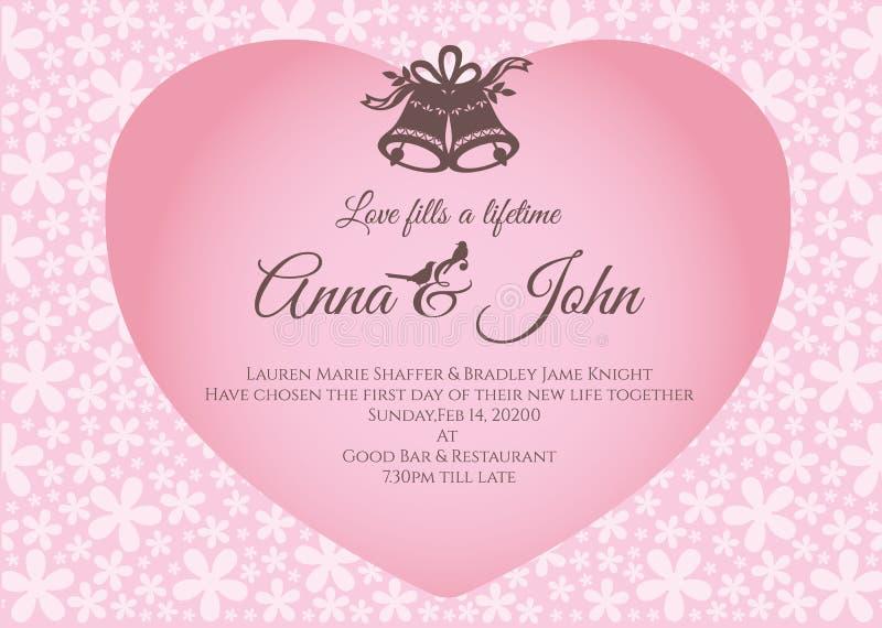 Cartão de casamento - o sino e o texto no coração cor-de-rosa no molde do vetor do fundo do sumário da flor projetam ilustração royalty free