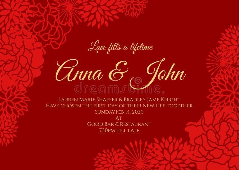Cartão de casamento - a rosa do vermelho e o outro vetor floral projetam no fundo vermelho ilustração stock
