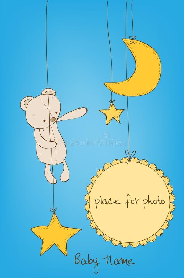 Cartão de chegada bonito do bebê ilustração do vetor