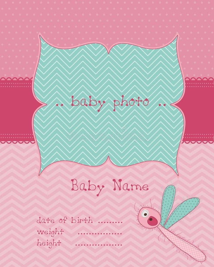 Cartão de chegada do bebé com frame da foto ilustração stock