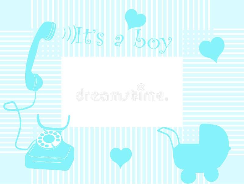 Cartão de chegada do bebê ilustração do vetor