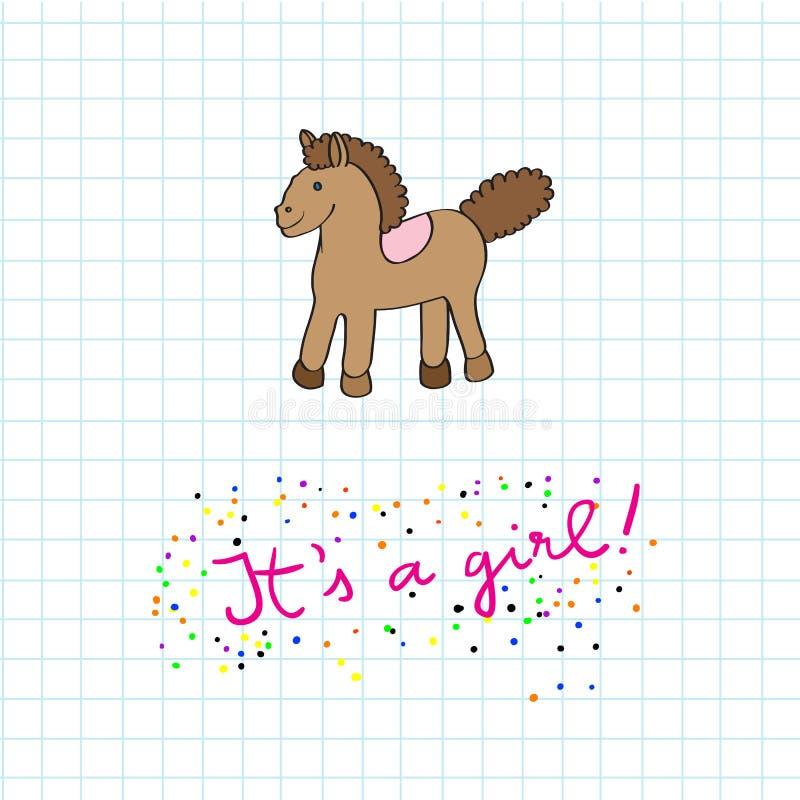 Cartão de chegada do bebê com cavalo ilustração royalty free