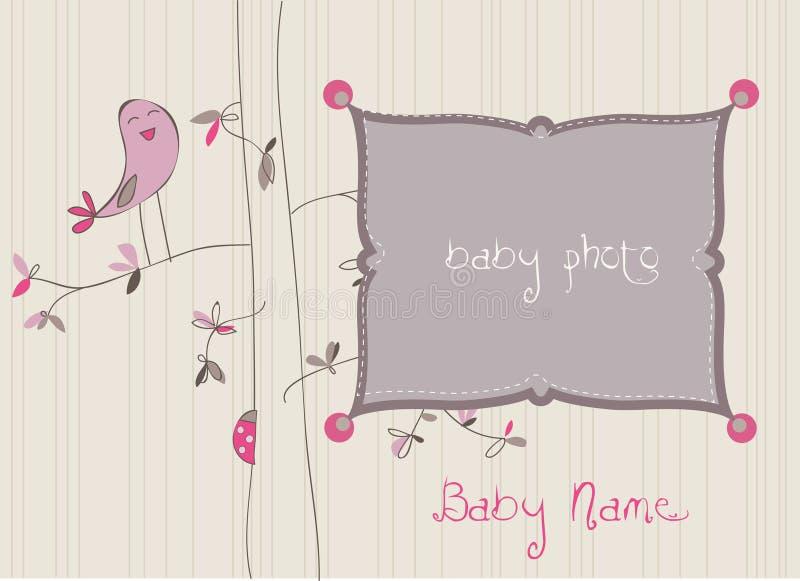 Cartão de chegada do bebê com frame da foto ilustração royalty free