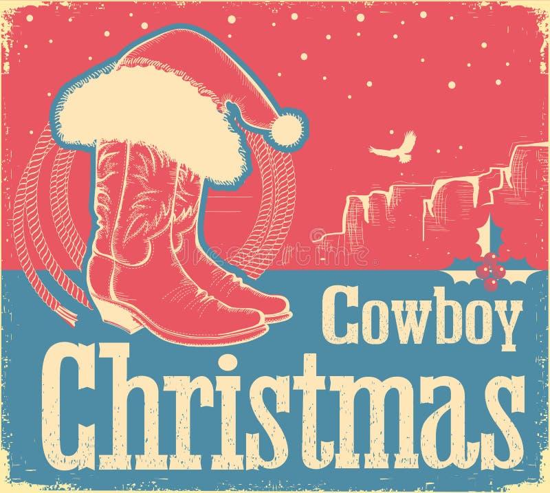 Cartão de Christmas do vaqueiro com sapatas e o chapéu ocidentais de Santa ilustração do vetor