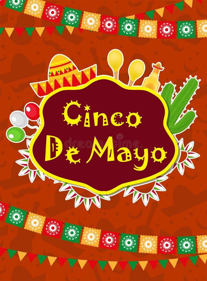 Cartão de Cinco de Mayo, molde para o inseto, cartaz, convite Celebração mexicana com símbolos tradicionais ilustração do vetor