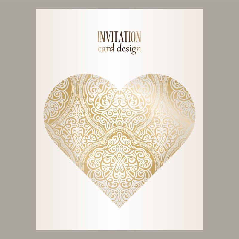 Cartão de convite de casamento com folhagem rica em ouro, a leste e barroco Fundo islâmico Ornate em forma de coração para o seu  ilustração stock