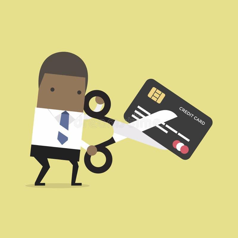 Cartão de crédito africano do corte do homem de negócios ilustração royalty free