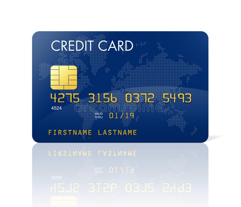 Cartão de crédito azul com mapa de mundo ilustração do vetor