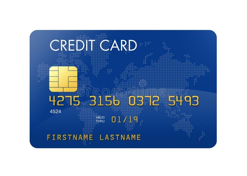 Cartão de crédito azul com mapa de mundo ilustração royalty free