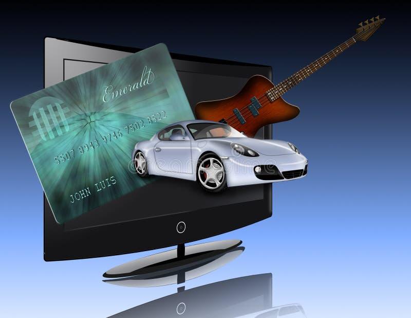 Cartão de crédito, carro, ecrã plano e guitarra ilustração royalty free