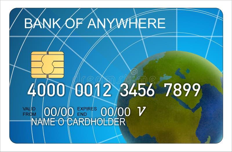 Cartão de crédito com globo ilustração royalty free