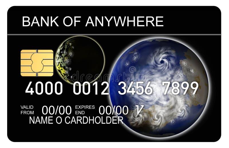 Cartão de crédito com terra e MOO ilustração royalty free