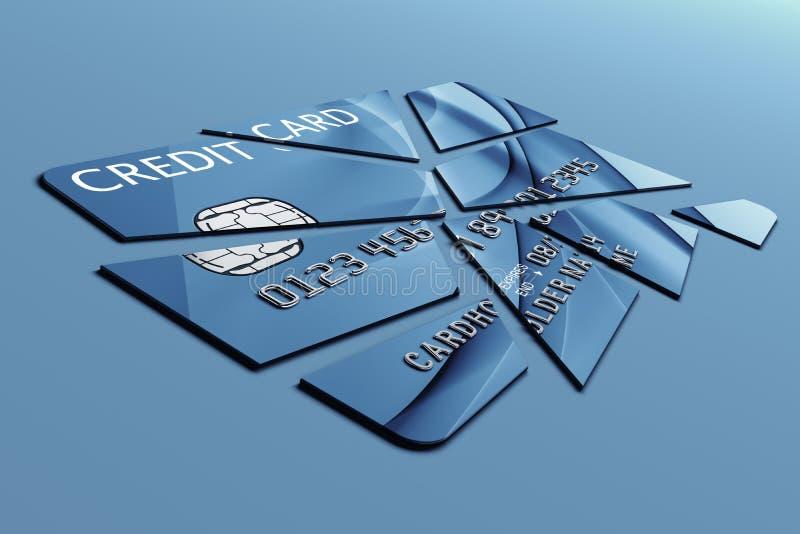 Cartão de crédito cortado em partes ilustração stock