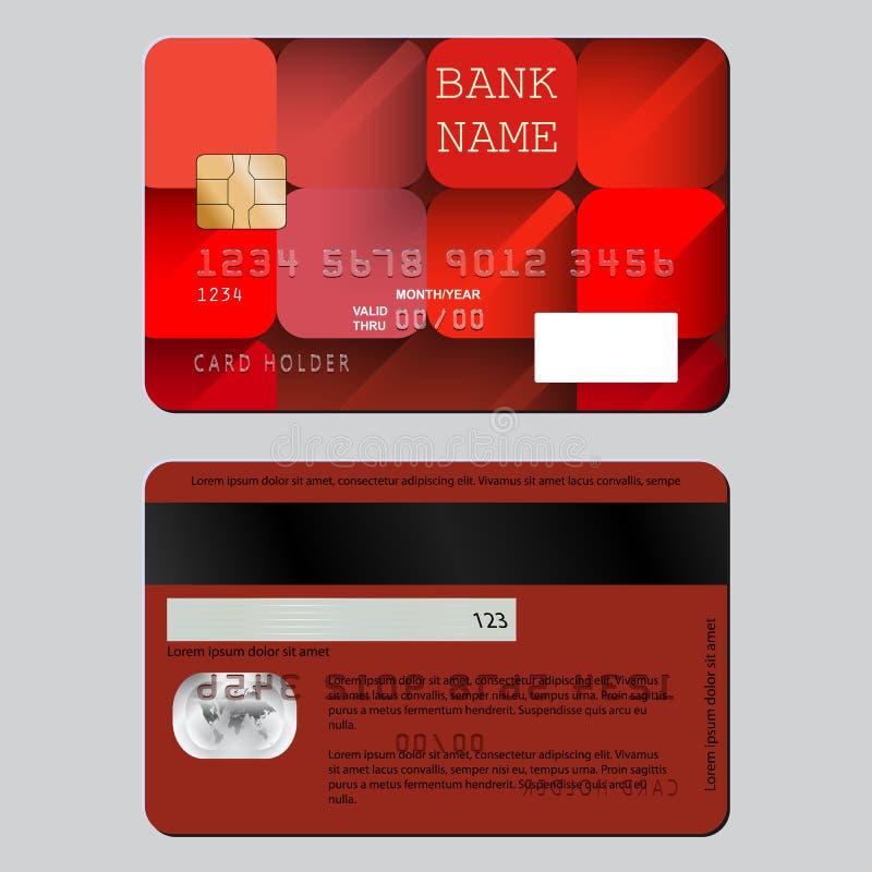 Cartão de crédito da decoração do projeto de dois lados Teste padrão brilhante de quadrados vermelhos com sombras longas ilustração do vetor