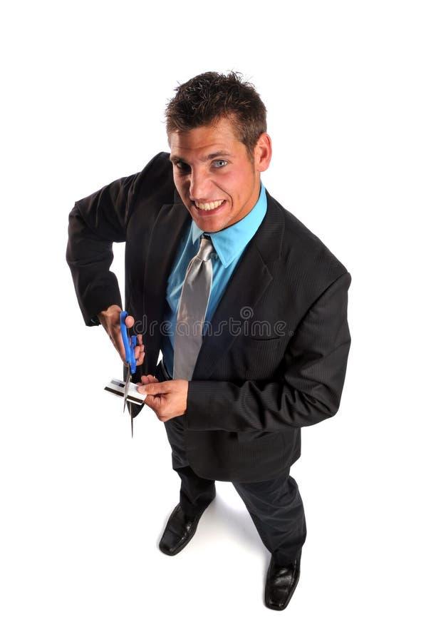 Cartão de crédito da estaca do homem de negócios imagem de stock royalty free