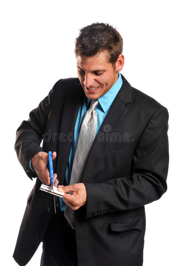 Cartão de crédito da estaca do homem de negócios imagens de stock royalty free