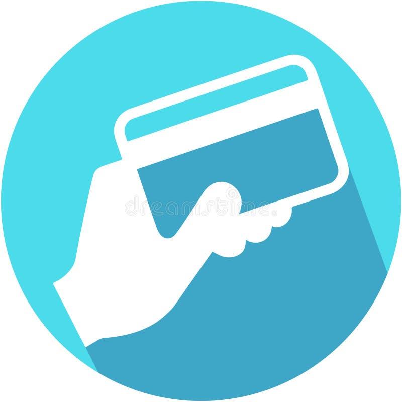 Cartão de crédito da terra arrendada da mão Vetor do ícone com sombra longa Estilo liso do projeto ilustração do vetor